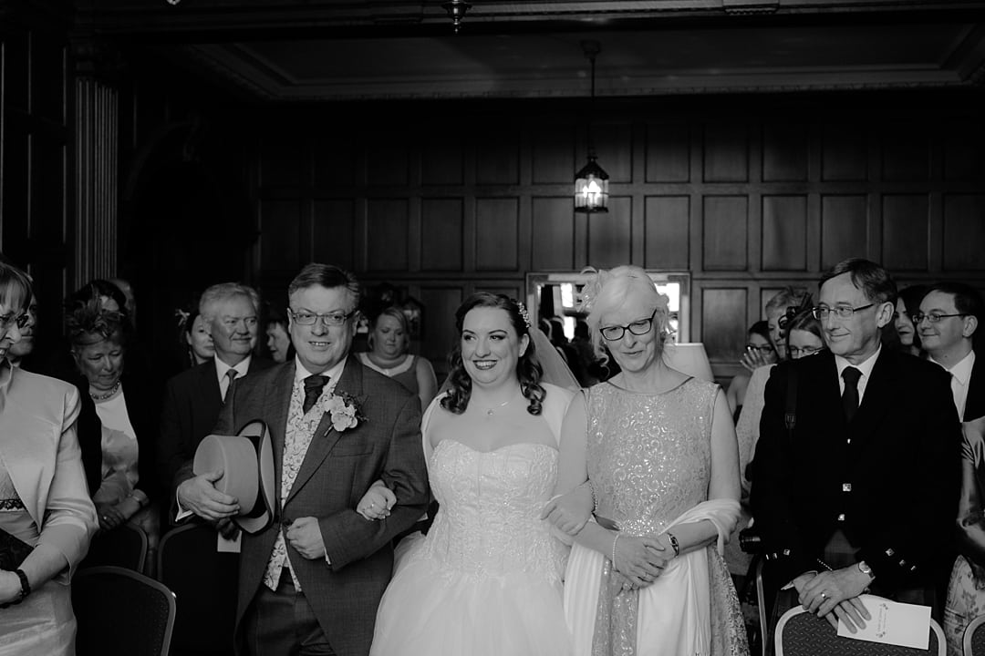 Scottish Summer Gean House Wedding walking down aisle