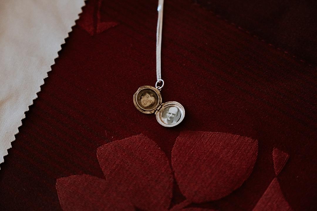sentimental wedding locket with grandparents