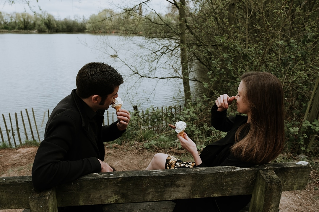 Spring Ryton Pools Coventry Engagement Shoot With Ice Cream