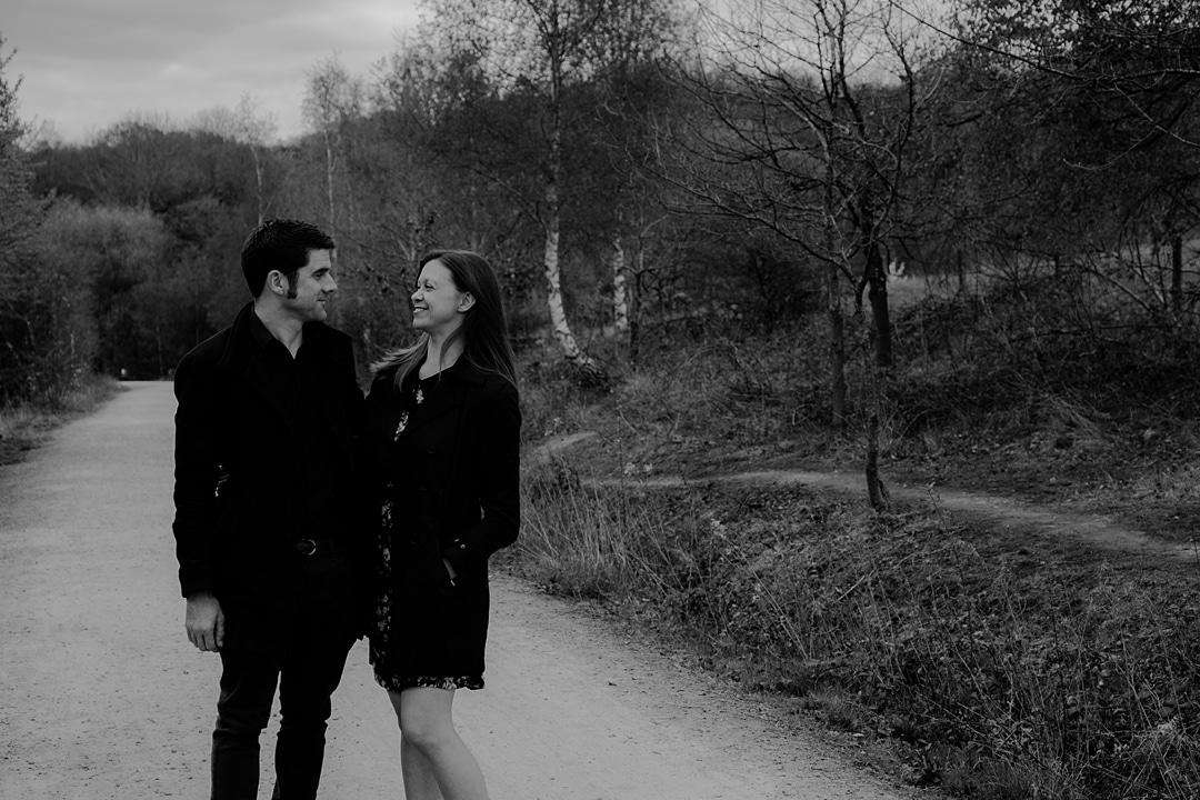black and white photo of couple at Ryton Pools