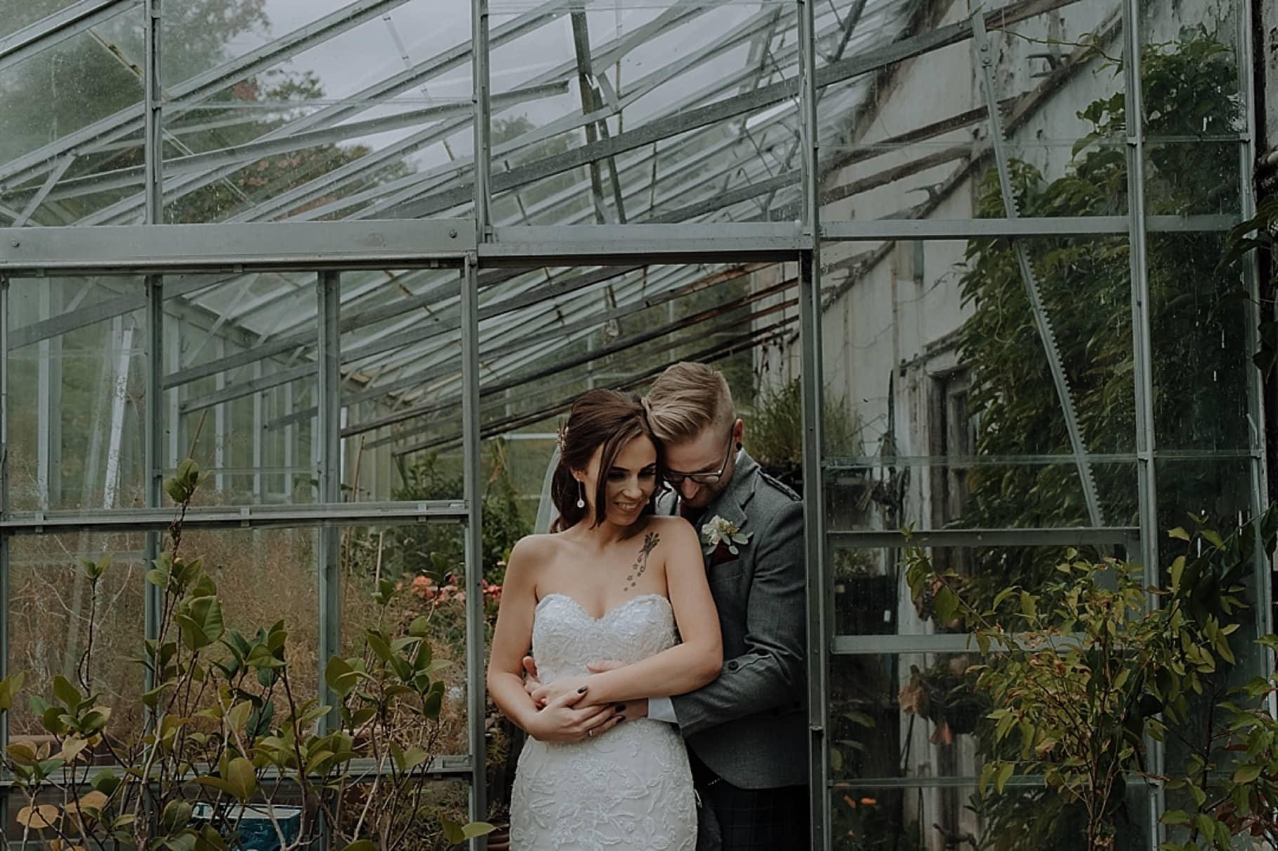 Greenhouse wedding photo at Colstoun