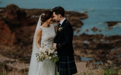 Stylish wedding at Seton Collegiate Church & Broxmouth Park in Edinburgh with Danny & Jessica