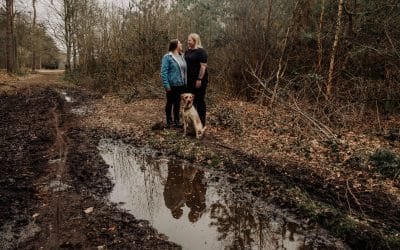 Relaxed Dog walk Engagement shoot in Harlestone Firs Northamptonshire with Jessie, Chloe and Honey