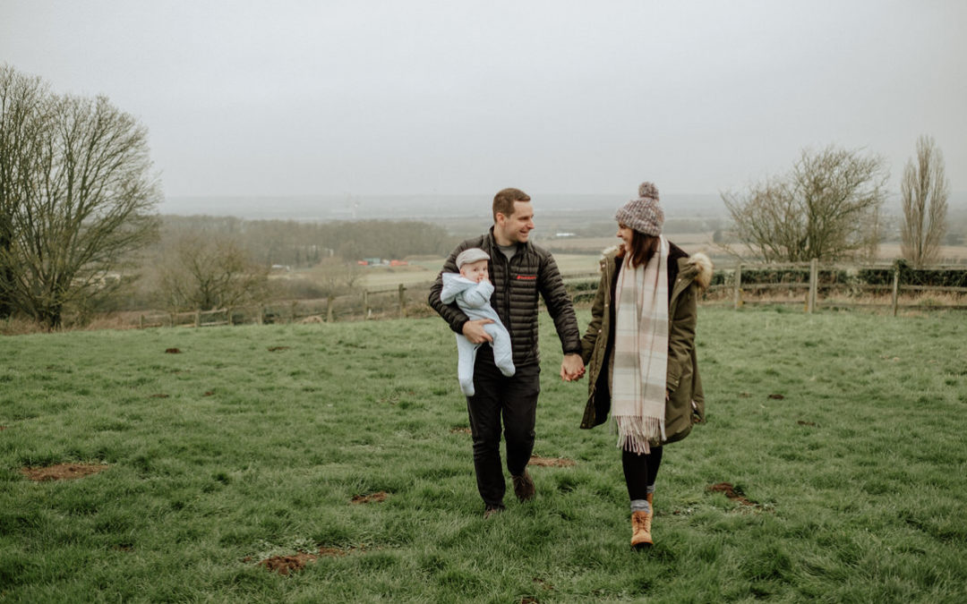 Cosy Family photoshoot with their baby & cat in Bedfordshire