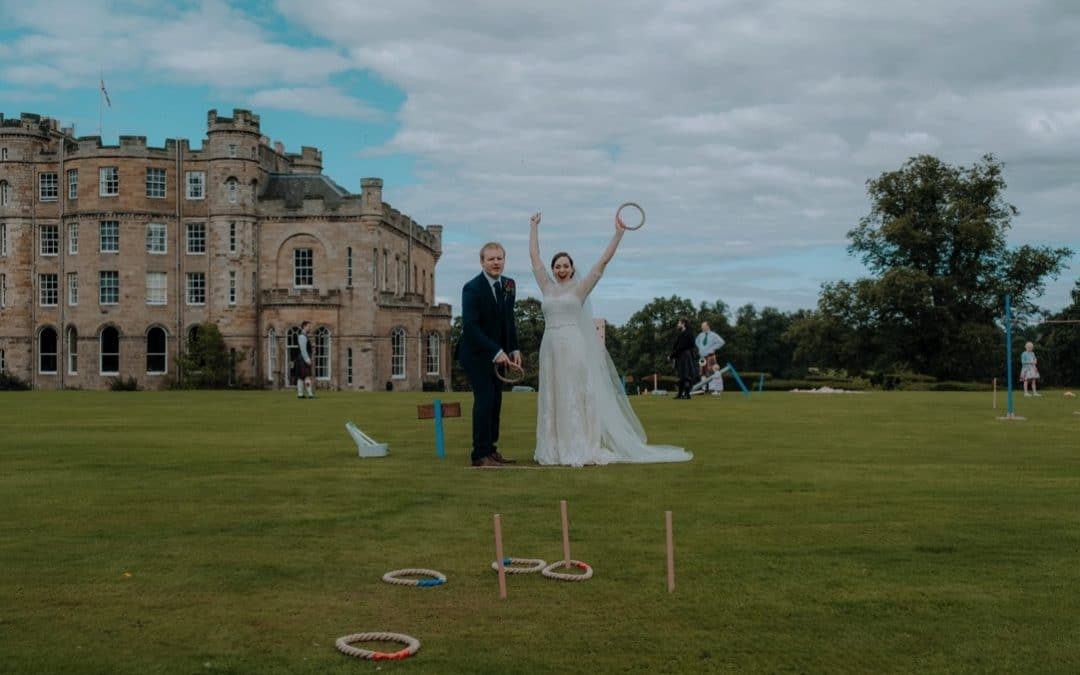 Summer Fun themed wedding at Oxenfoord Castle, Scotland | Claire & Matt