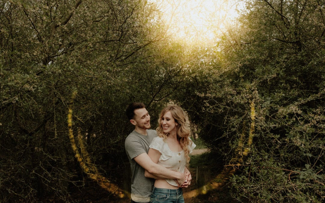 Pre-wedding woodland engagement shoot with their labrador | Deanna & Jonny