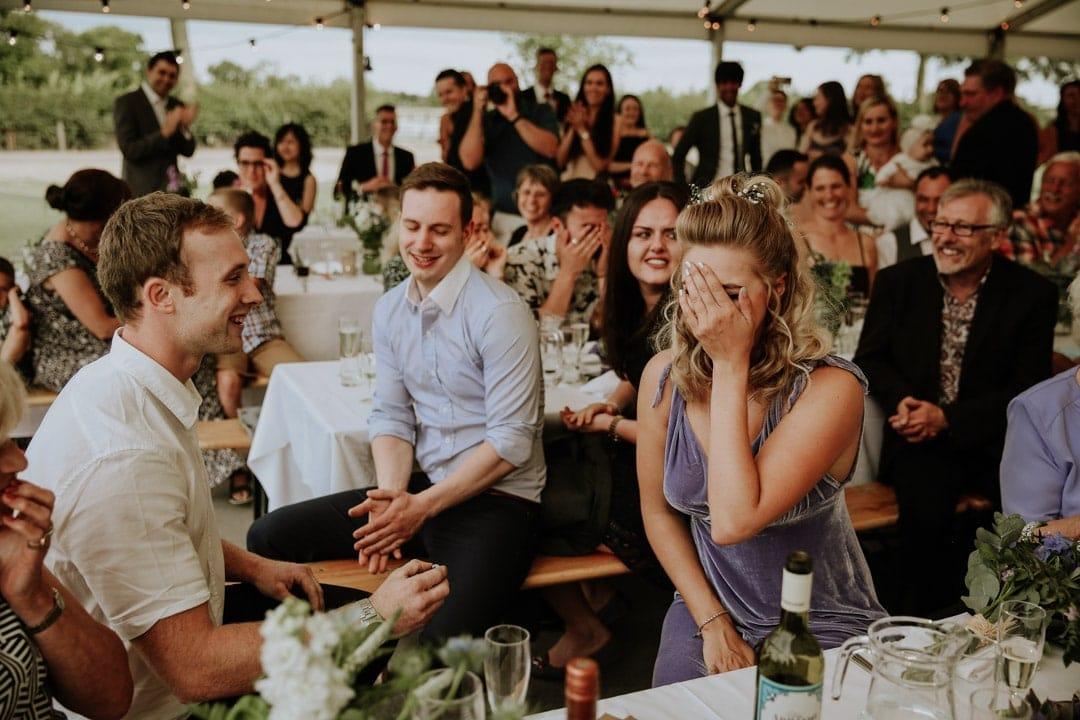 bridesmaid-recieves-propsal-wedding-breakfast-surprise-proposal