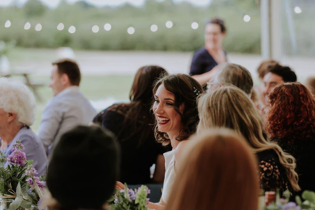 smiling-bride-red-lipstick-flower-crown