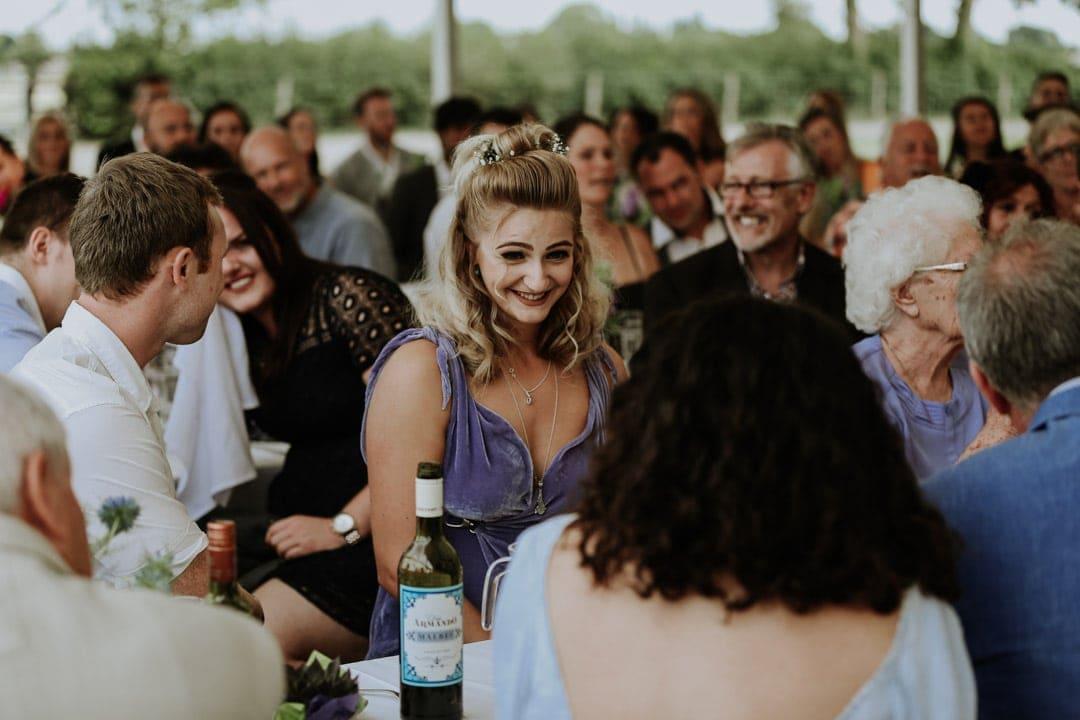 smiling-bridesmaid-purple-velvet-dress-diy-leicestershire-wedding