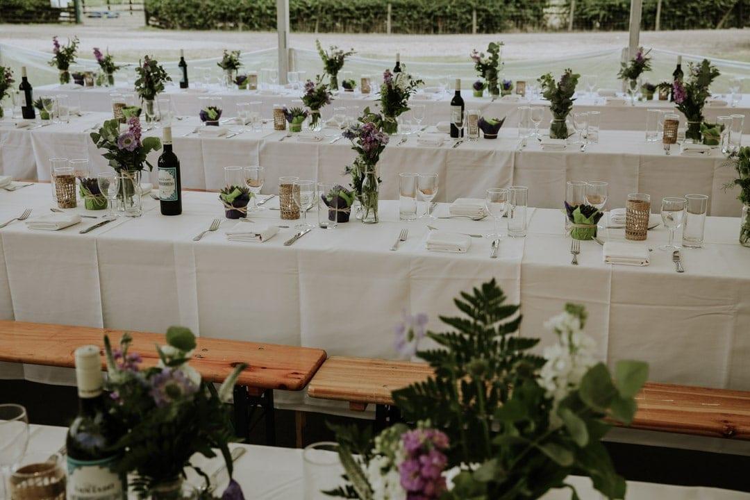 rustic-diy-marquee-wedding-decorations-ferns-flowers