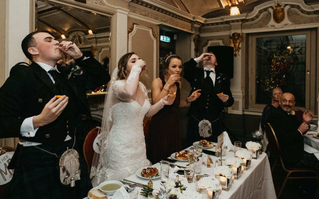 Scottish Winter Church Ceremony with a Wedding Reception at Sloans in Glasgow | Rebecca & Kyle